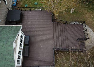 Vu de drone du patio en matériaux composites - Fabrication de patio en composite sur mesure à Candiac - Patio et clôture Caravelle
